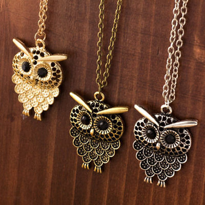 Hot Vintage Cute Womens Bronze Owl Pendant Long Sweater Chain Necklace Jewelry