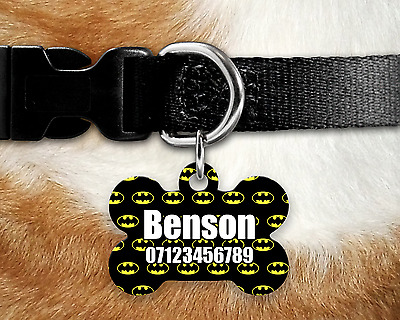 Custom Personalised Pet Dog Name ID Tag For Collar Pet Tags - Engraved - Batman