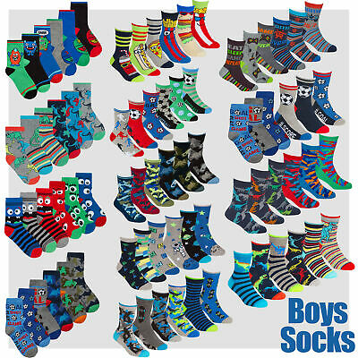 Childrens Kids Boys Cotton Rich Novelty Socks 6 9 18 Pair Bundle Back To School