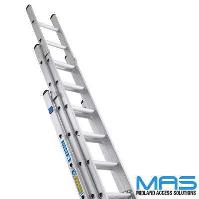 Professional Trade Triple & Double Section Aluminium Extension Ladders Zarges