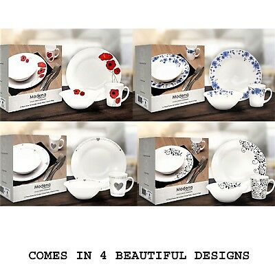 New 12 Pcs Dinner Set Eating Dinnerware Kitchen Home 4X Plates 4X Bowls 4X Mugs