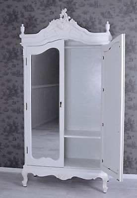 Cupboard Rococo style wardrobe with mirror white country style wood closet new