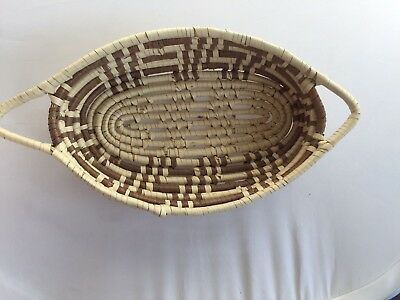 Native American papago basket- w side handles- brown and cream color