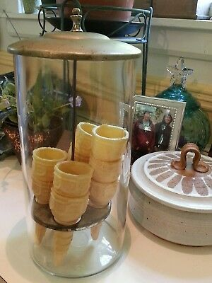 CLASSIC AND  RARE vintage glass ice cream cone dispenser