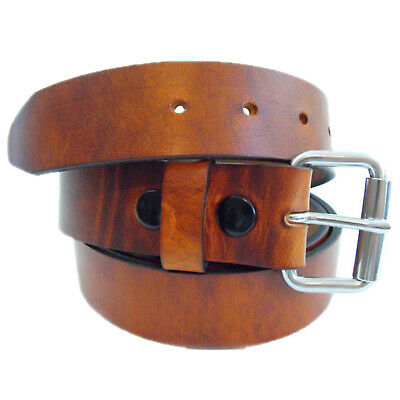 Men's 1 1/2 Hot Dipped Tan Harness Leather Belt Roller Buckle Return Size 38