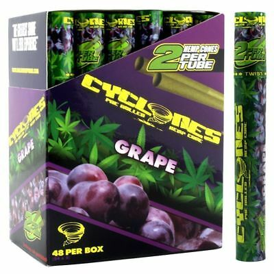 Cyclones Hemp Cone Grape - 8 TUBES - Pre Rolled Flavor 2 Cones Per Pack Purple