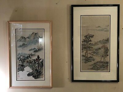 pair Original signed Asian landscape watercolor paintings scroll Karl J. Feng