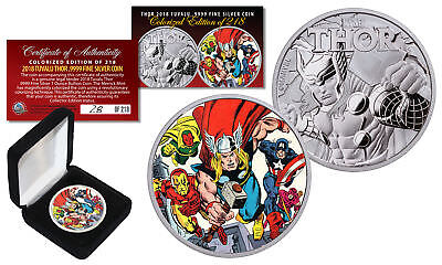 2018 1 oz Pure Silver Tuvalu Marvel THOR Coin S/N & LTD 218 - The Avengers Thor