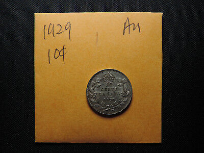 1929 10 Cent Coin Canada George V Ten Cents .800 Silver. AU Grade