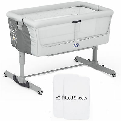 NEW CHICCO DELICACY NEXT 2 ME DREAM SIDE SLEEPING CRIB WITH x2 FITTED SHEETS