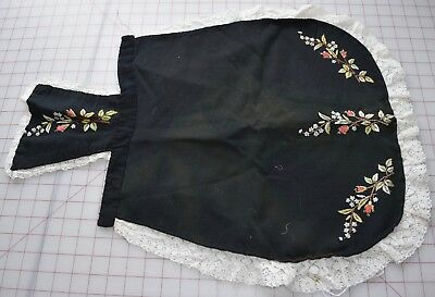 Antique late 19th century black wool apron, beautiful floral embroidery
