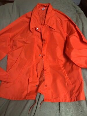 VTG Bright Orange Pendleton Round Up Let'er Buck Windbreaker Rain Jacket Sz L