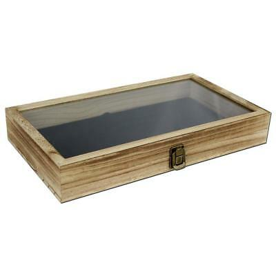 Wood Storage Box Oak Display Case Glass Top Lid Bead Jewelry Knives Collection