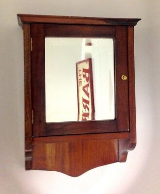 Antique Wooden Mirror Fronted Cabinet / Cupboard / Wall Hanging Or Tabletop