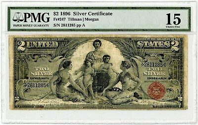 Fr. 247 $2 1896 Two Dollar Silver Certificate Note Educational Series CH15 PMG