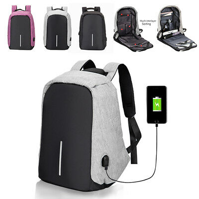 Anti-theft Waterproof Unisex Laptop Notebook Backpack with USB Charging Port UK