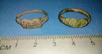 Two Post Medieval bronze religious ring of 16-17th century