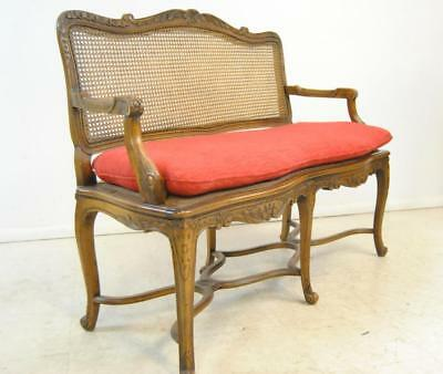 Walnut Caned Back Carved French Settee - Louis XV Style
