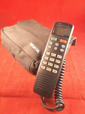 Vintage Portable Nokia 0193 Mobile Bag Phone Corded With Carrying Case 1990's