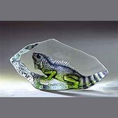 Iguana Hand-Etched - Swedish Crystal Sculpture By Mats Jonasson (18483)