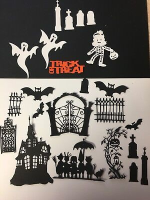 Halloween scene 4 die cuts for cards or scrapbook pages23 pieces