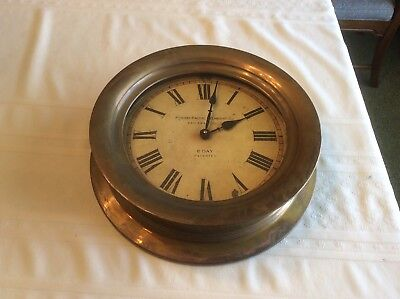 Panama Pacific Steamship Co TimeWorks 8 Day Antique Brass Wall Clock 16 inch dia