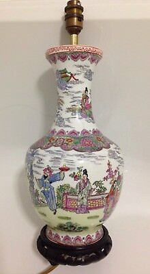 Vintage Chinese Famille Rose Vase Lamp