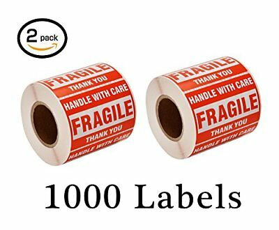 """1000 Large 2x3"""" Handle with Care Fragile on plastic or cardboard Labels Stickers"""