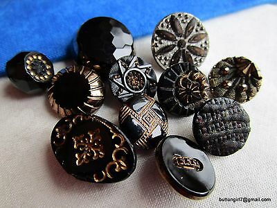 3919 – 11 Different Gold Luster Black Glass 1800s Buttons-Bouton Verre