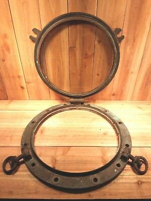 "Vintage Solid Brass 21"" Ships Porthole - Original Glass - maritime nautical"
