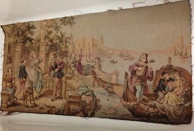 Antique French Romantic Tapestry Venice Scene Embroidery Picture