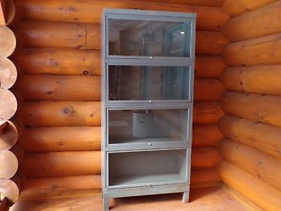 Painted Industrial Metal Barrister Bookcase Mid-Century Modern Era Office Decor