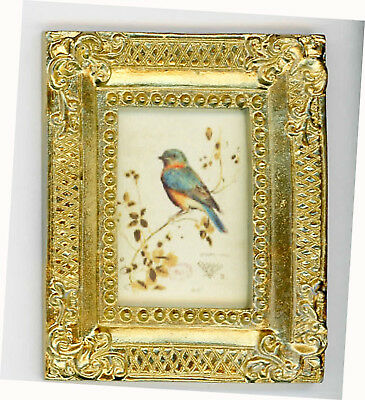 Dollhouse Miniature Gold Framed Picture of a Colorful Bird