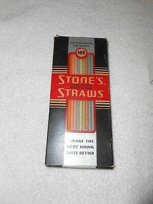 Vintage Art Deco Design Stone's Multicolor Drinking Straws MIB  Full Box