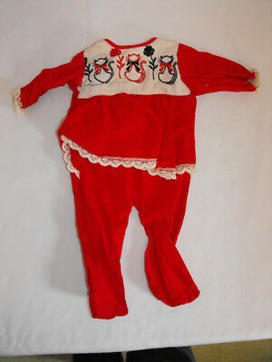 Vintage 1960's Red Footie Outfit Child's Baby w/ Cat Design Girl 3 - 6 mo??