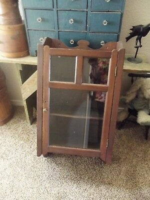 Large Early Primitive Wall Cabinet Glass Front Door