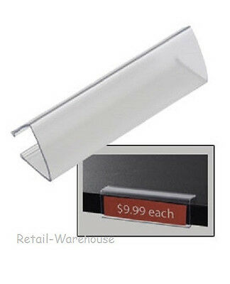 """Wood Shelf Label Holder 60 Acrylic Clear Tags Ticket Holds 7/8"""" x 3 1/8""""L Labels"""