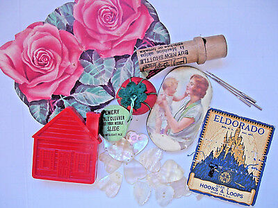 LOT Antique & Vintage Sewing Notions Needle Cases, Mother of Pearl Buttons+++