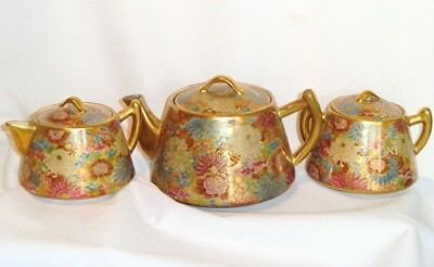 Japanese Satsuma Mille Fleur Thousand Flowers Teapot Set Signed