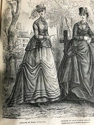 MODE ILLUSTREE SEWING PATTERN July 18,1869 - SIDE SADDLE COSTUMES