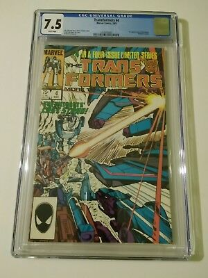 TRANSFORMERS #4 CGC 7.5 WHITE PAGES 1st Apperance of Shockwave (MARVEL, 1985)