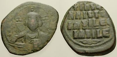 051. Byzantine Coin. CLASS A2 Anonymous AE-Follis. Constantinople. Christ