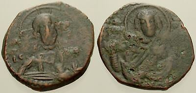 052. Byzantine Coin. CLASS G Anonymous AE-Follis. Constantinople. Christ/Virgin
