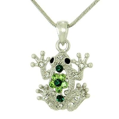 "Frog W Swarovski Crystal Jungle Toad Weather Girl Dark Green Necklace 18"" Chain"