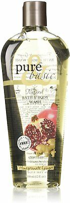 Natural Bath & Body Wash, Pure & Basic, 12 oz Pomegranate Ginger