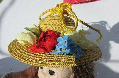 Madame Alexander Alexander-Kins Doll Hat FAO Wendy Straw Roses Exquisite 1950's
