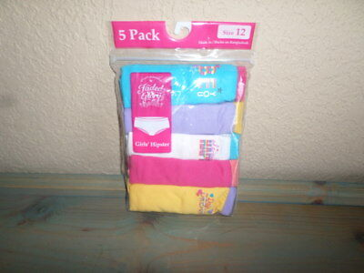 New Faded Glory Girls 5 Pack Hipster Multi-Color Underwear - Size 12