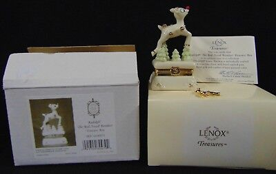 2002 Lenox RUDOLPH THE RED NOSED REINDEER Treasure Box w/Charm NIB 1st Issue COA