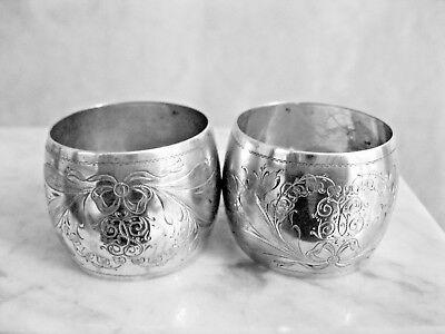 Antique 800 Silver Pair Of Engraved Napkin Rings~Lovely Floral & Ribbon Design