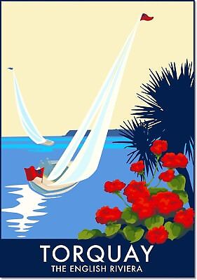 Torquay the English Riviera Vintage Travel Art Deco Poster Reproduction